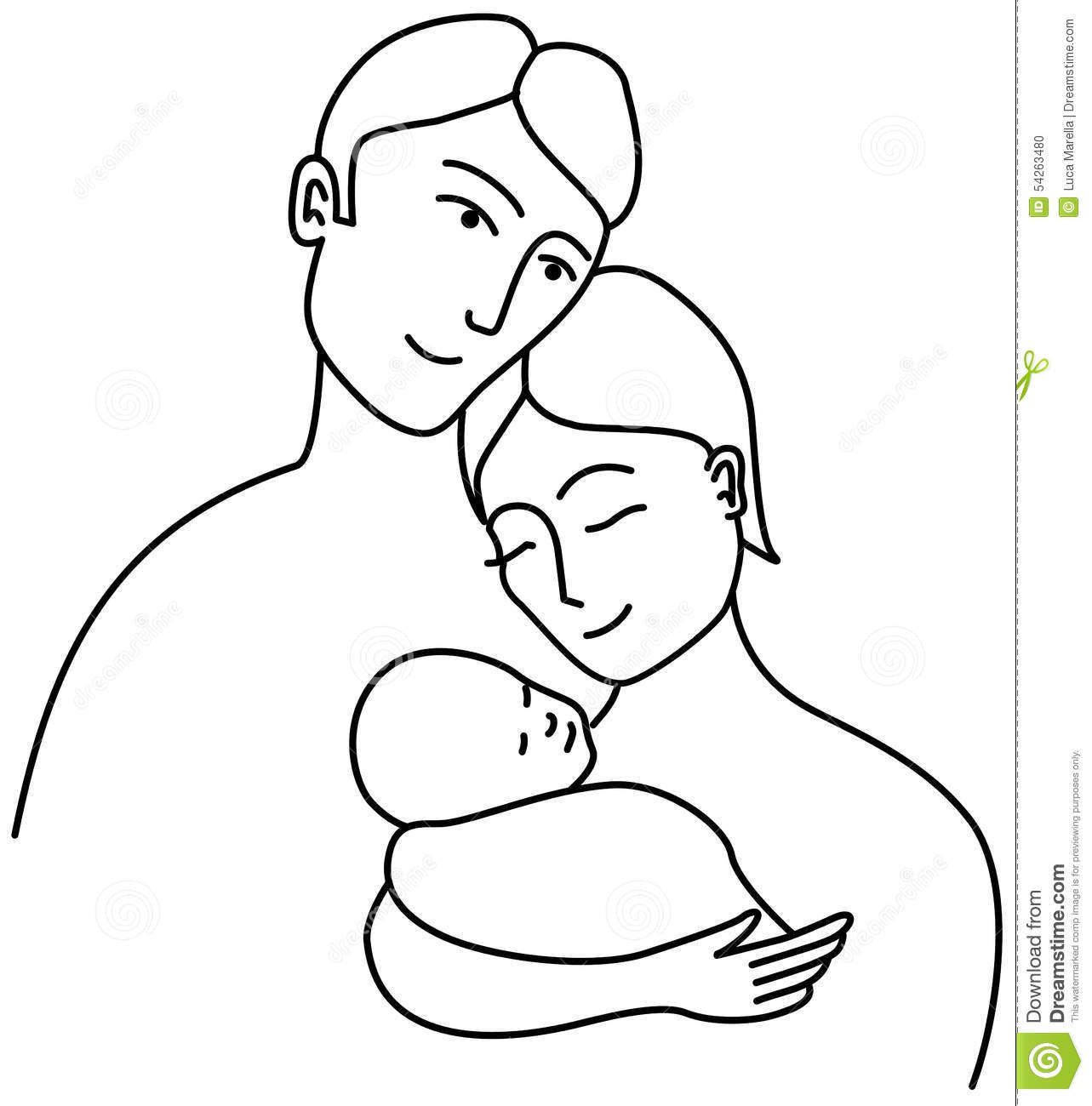 Line Art Baby : Family line drawing stock vector illustration of female
