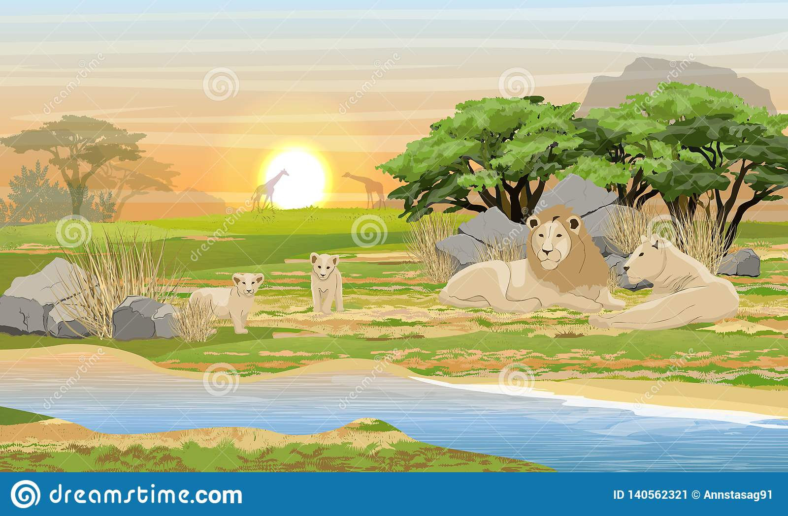 A family of lions resting near a lake in the African savannah