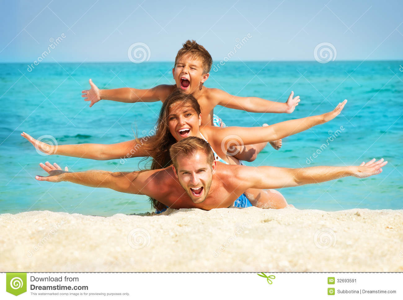 Family with Little Kid at the Beach