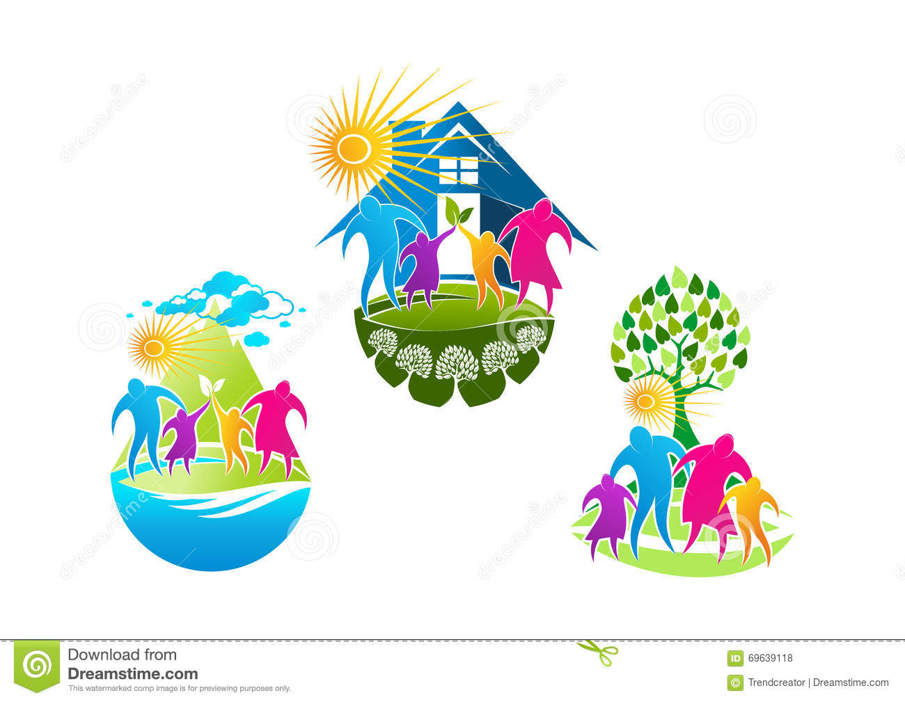 Family care logo vector illustration for Healthy home designs