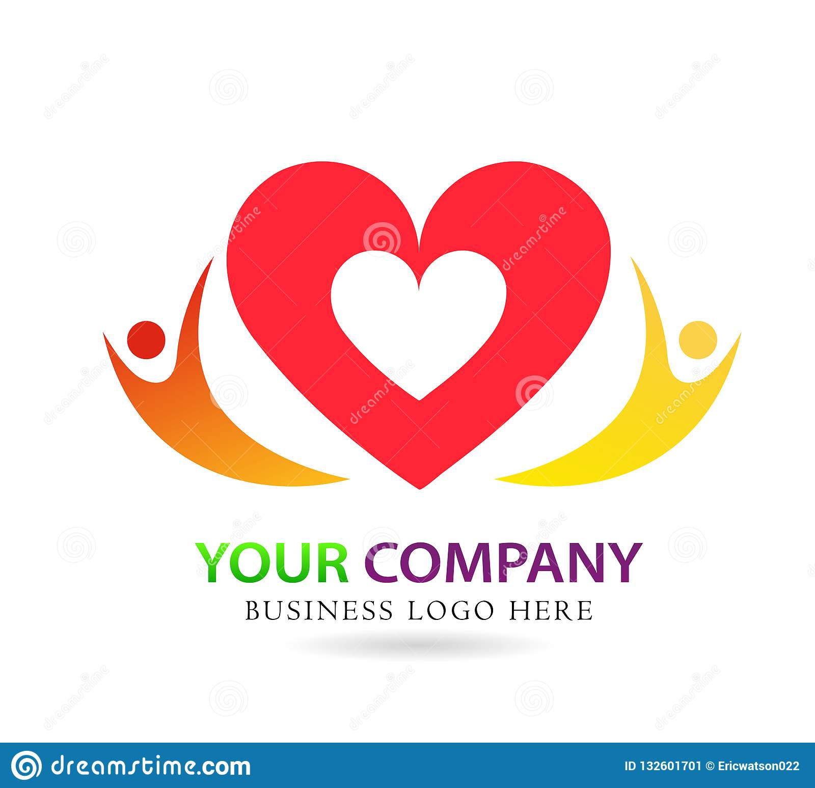 Family love care union in red heart company concept logo icon element sign on white background
