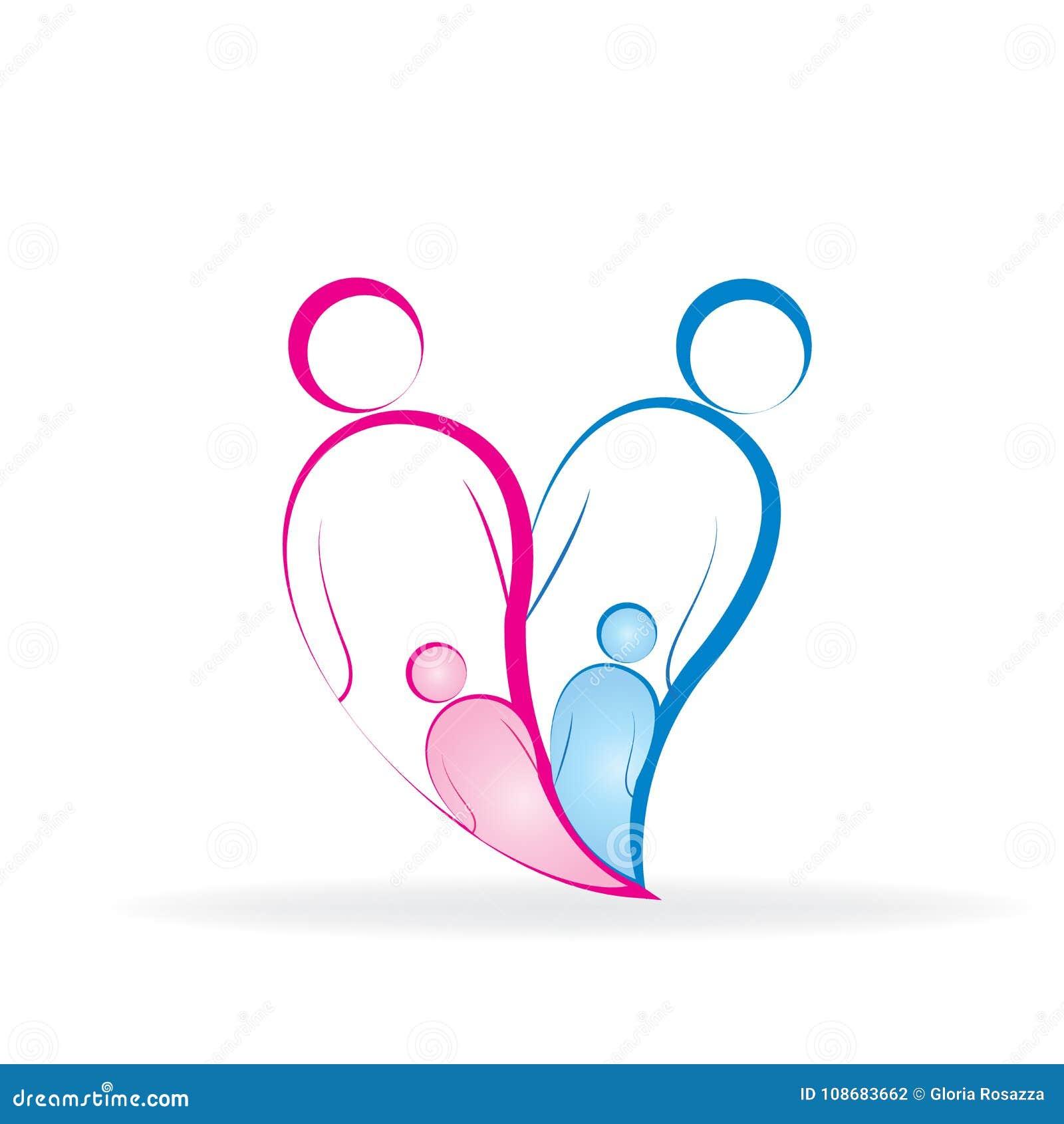 Family Love Heart Line Art Symbol Logo Stock Vector Illustration