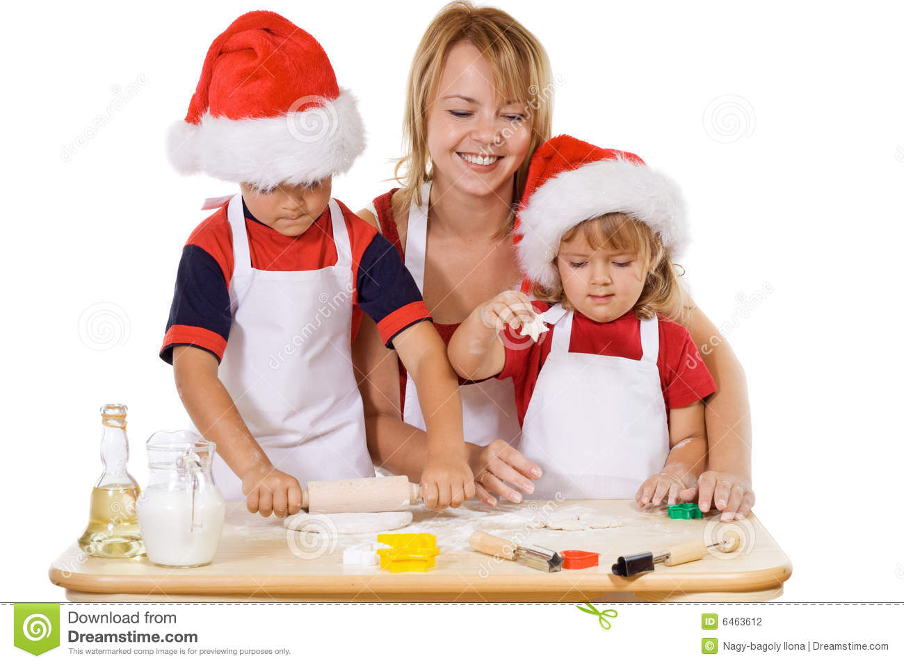 Family making cookies at christmas time
