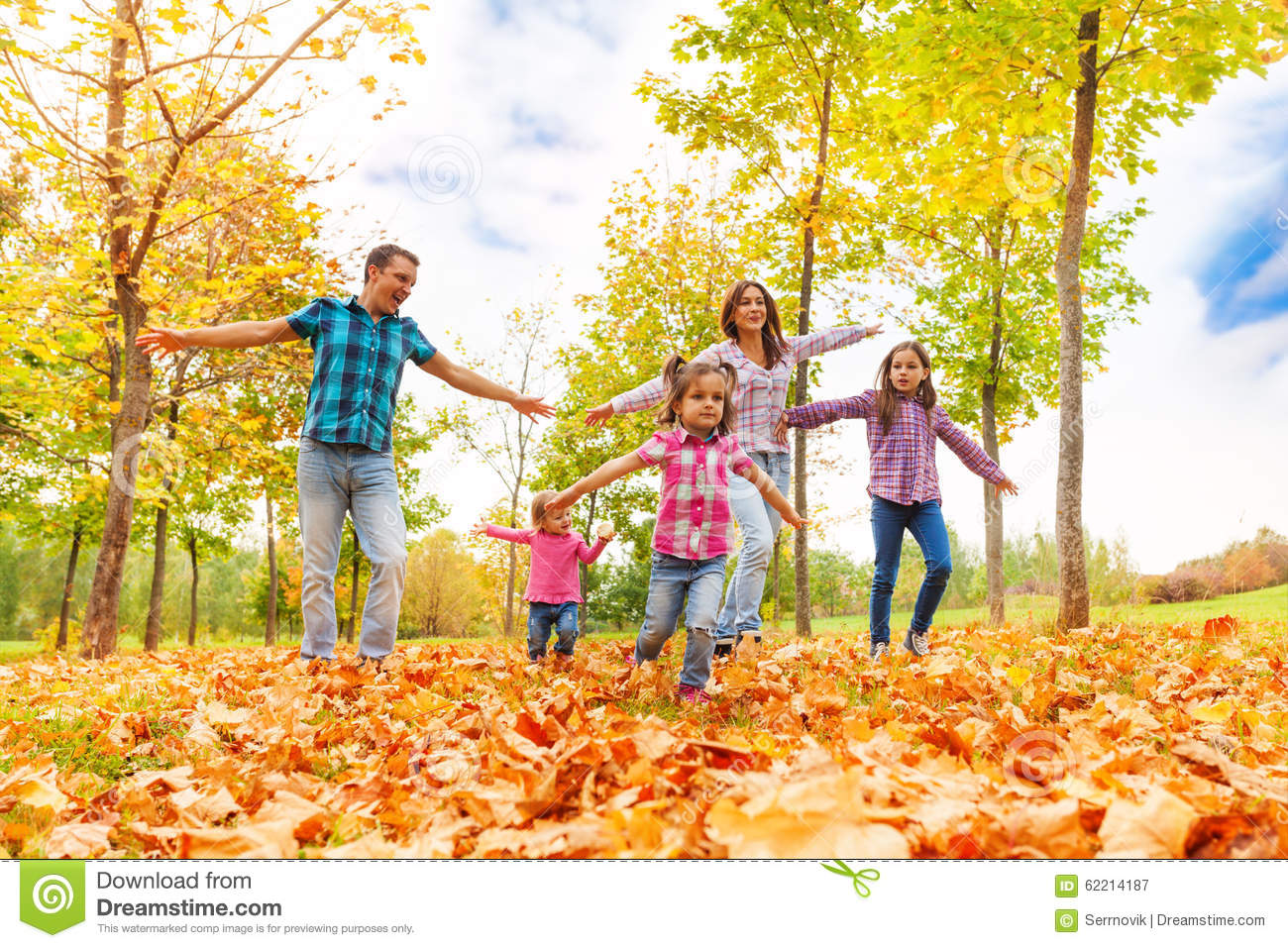 Family With Many Kids Run In Autumn Park Stock Image ...