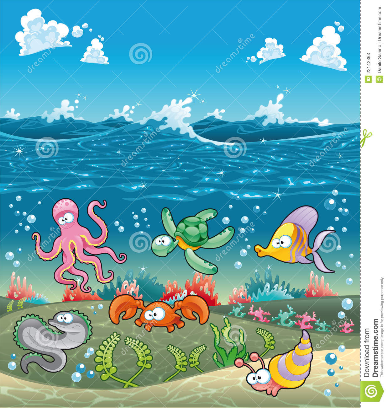family of marine animals under the sea stock vector image 22142363