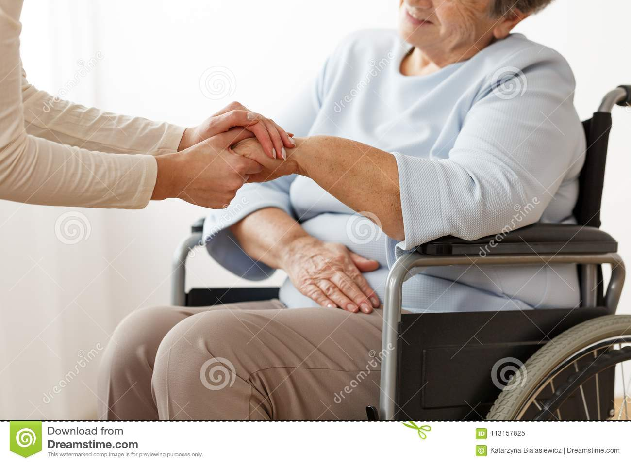 Family member supporting disabled grandmother