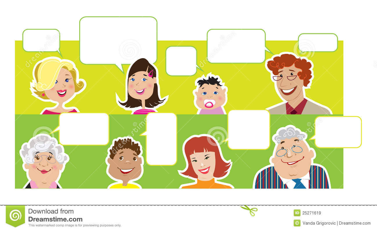 Family Members With Dialogue Balloons Stock Illustration