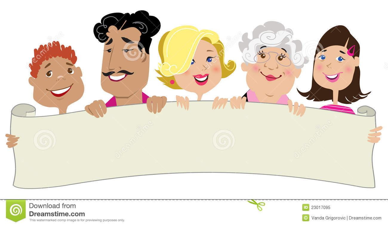 Family Members Holding A Blank Scroll Royalty Free Stock Photo - Image ...