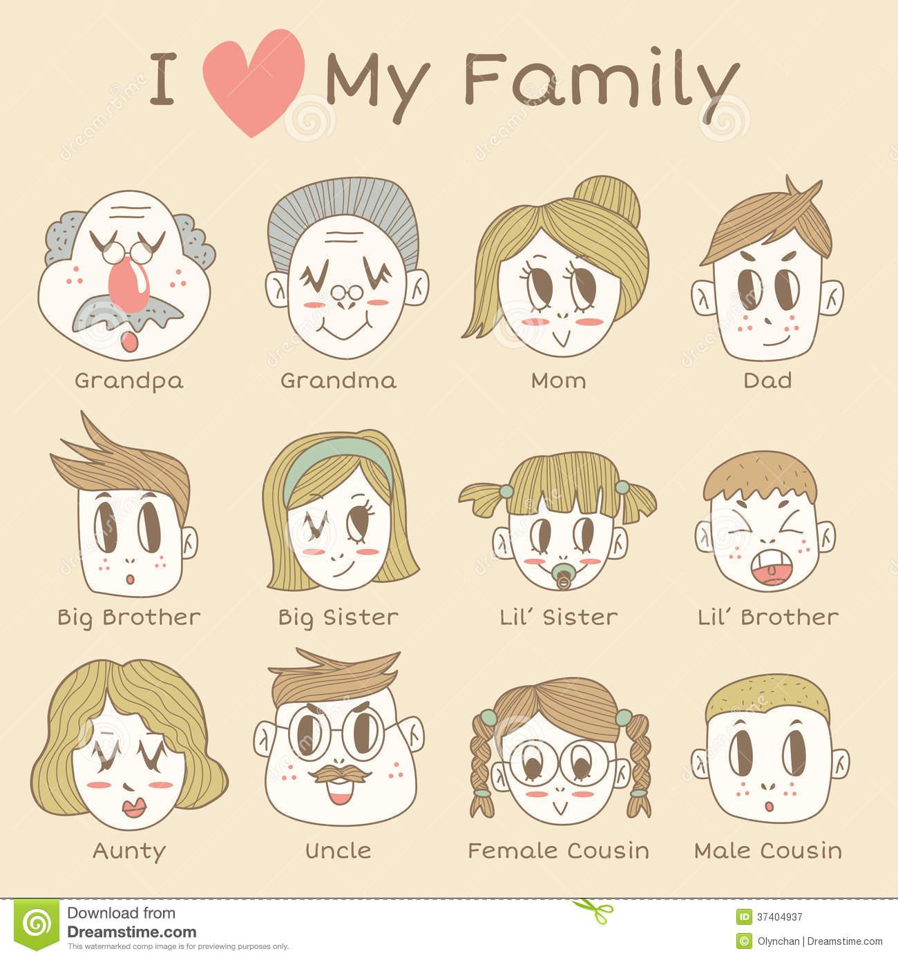 Family Members Icon Set Royalty Free Stock Photography - Image ...