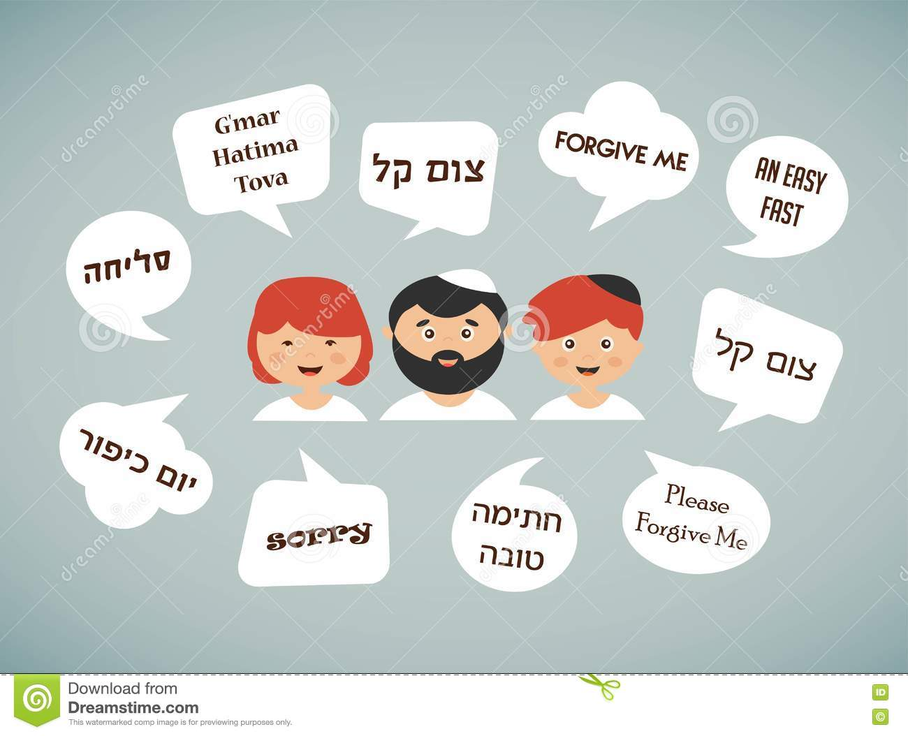 Family Members Saying Traditional Greeting For Yom Kippur In Hebrew