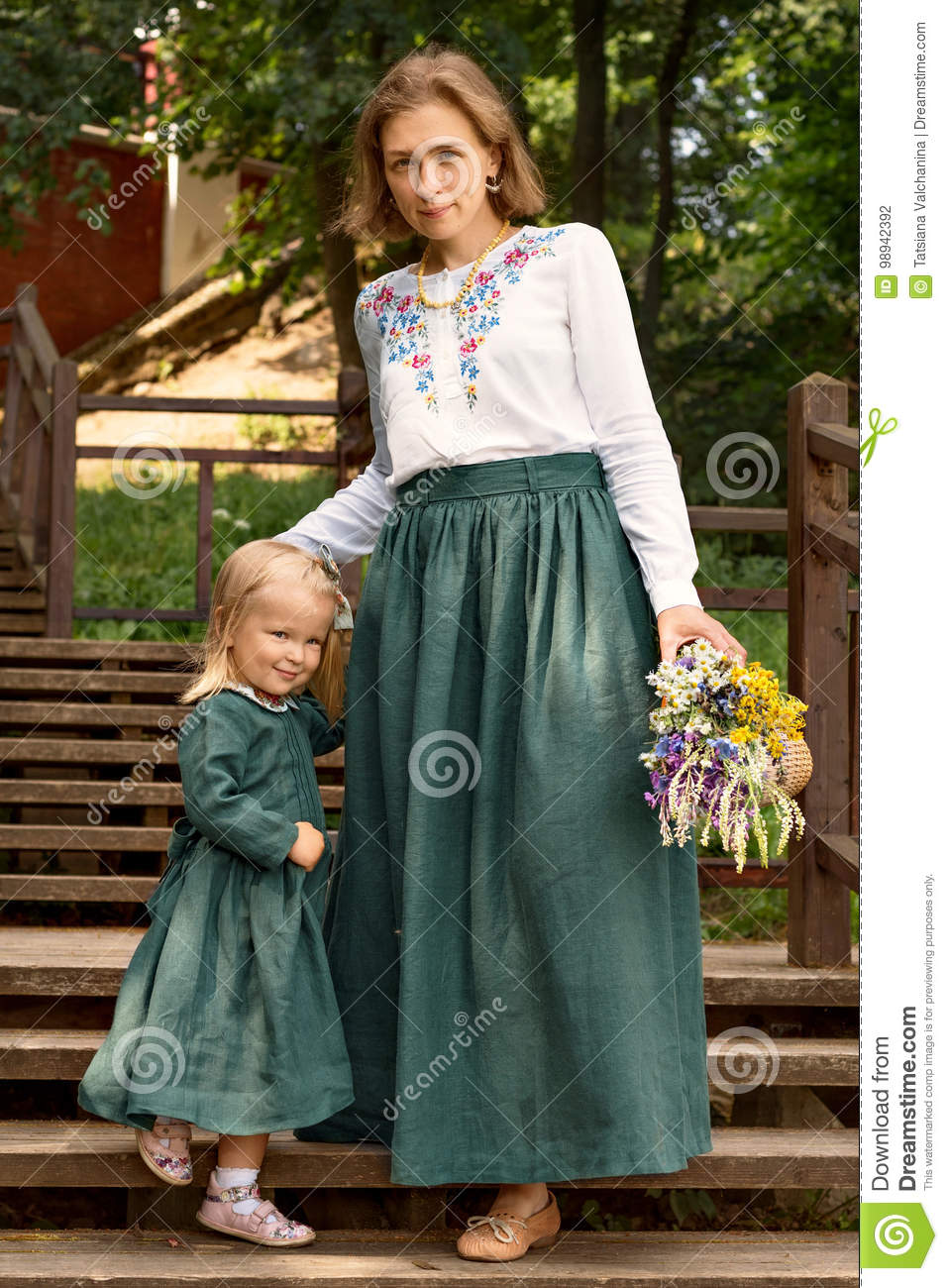 Family Mom With Daughter In Vintage Retro Style Linen
