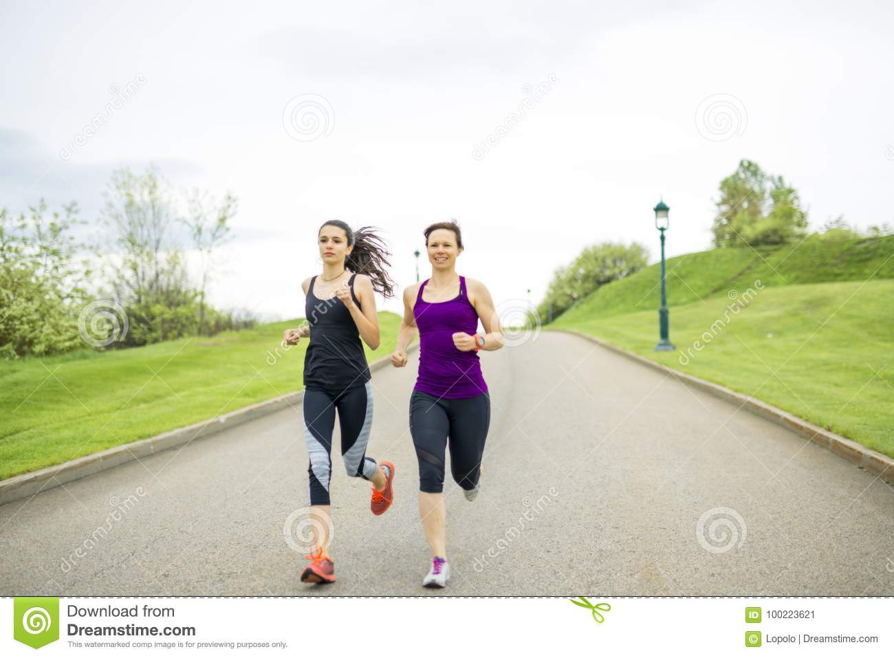 Family, mother and daughter runner outdoors