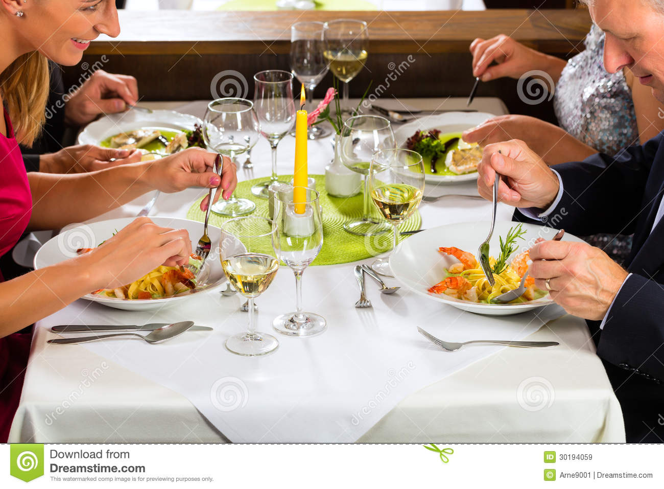Family with adult kids in Restaurant