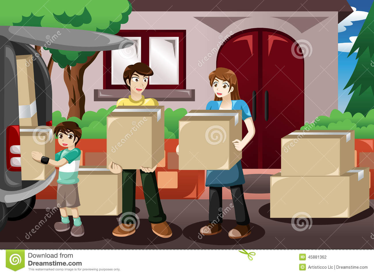 Family Moving House Stock Vector Image Of Clipart Family