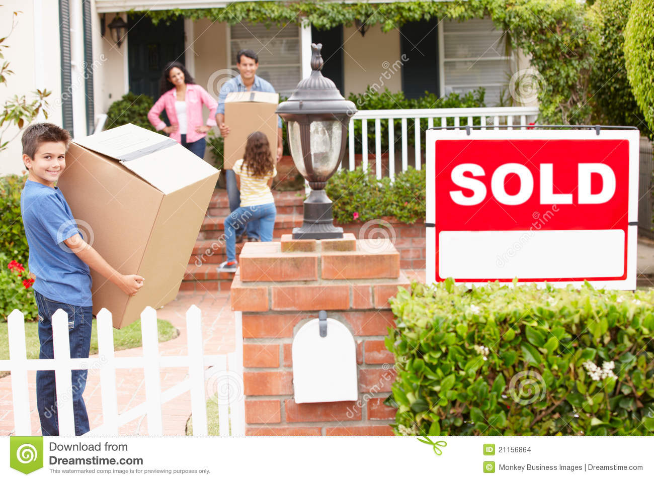 Family moving into new home stock photo image 21156864 When is the best time to move house