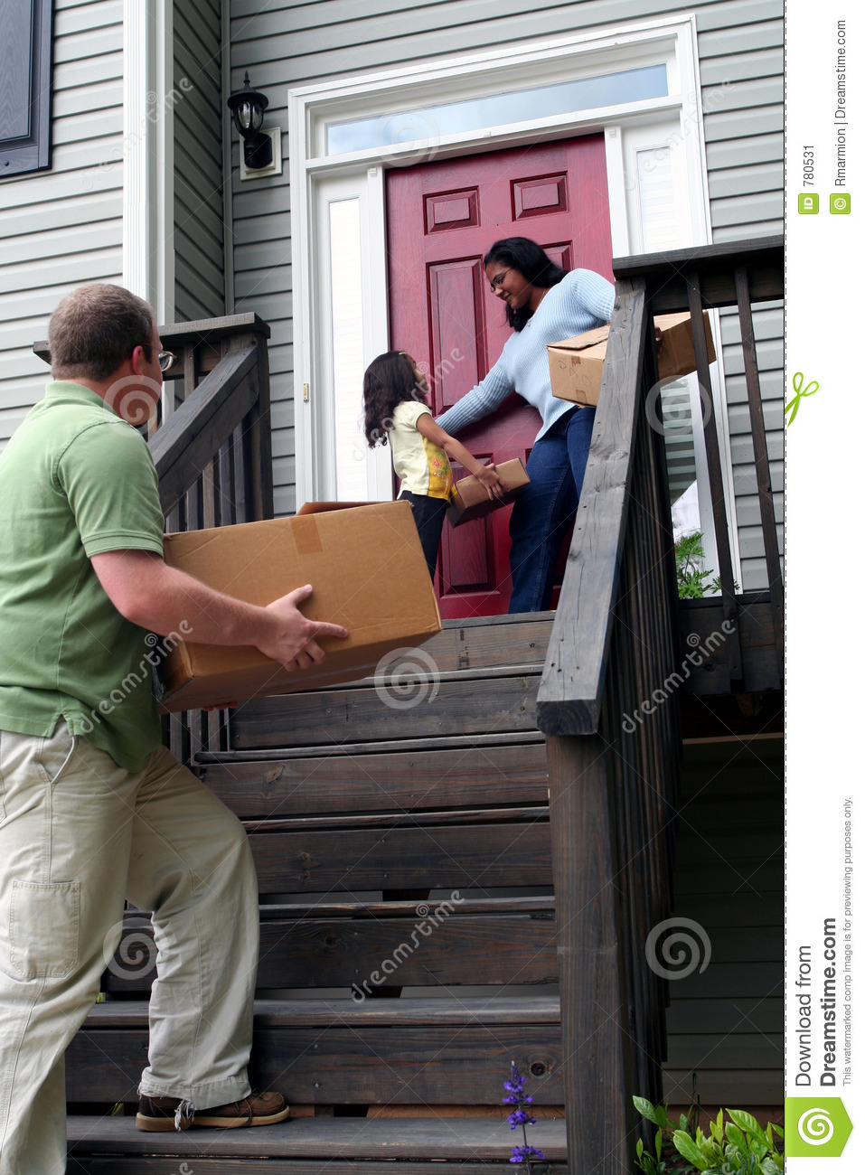 A family moving into new house stock image image of for Moving into a new build house tips