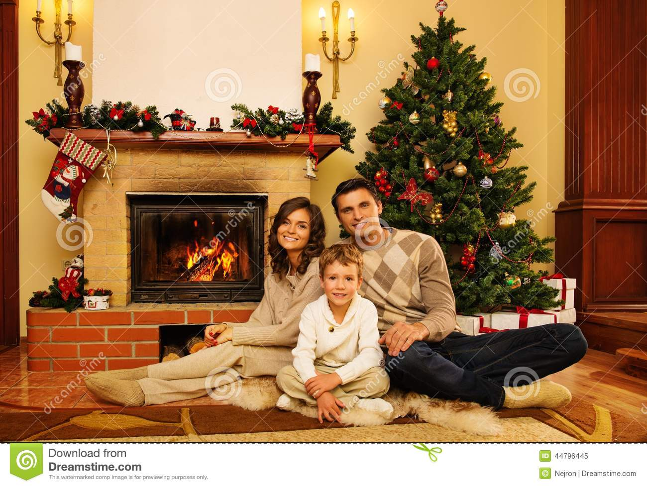 Family Near Fireplace In House Interior Stock Image Image Of Noel Girl 44796445