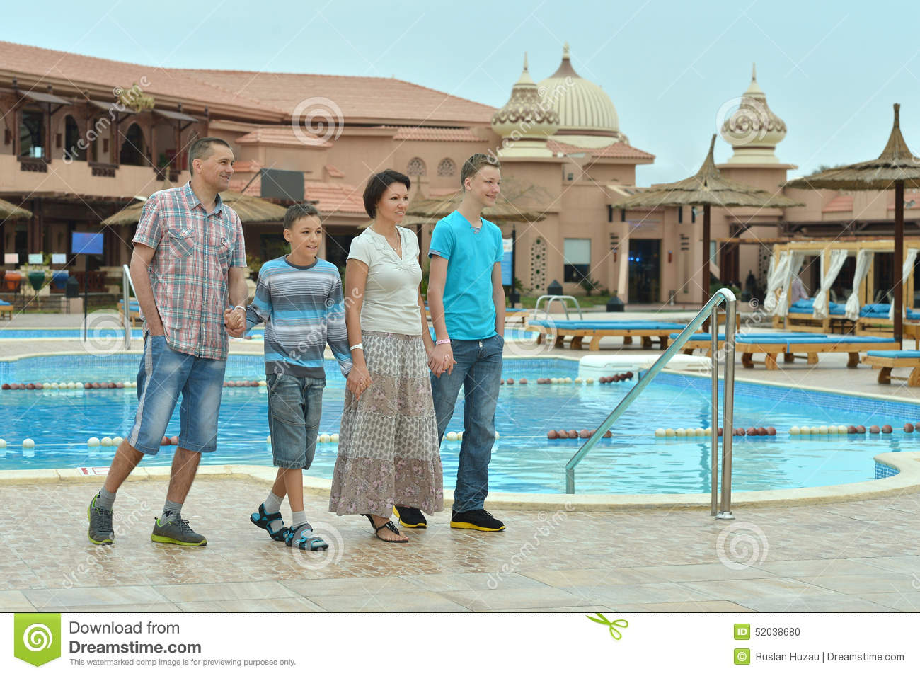 Family near swimming pool stock photo image 52038680 for Family swimming pool
