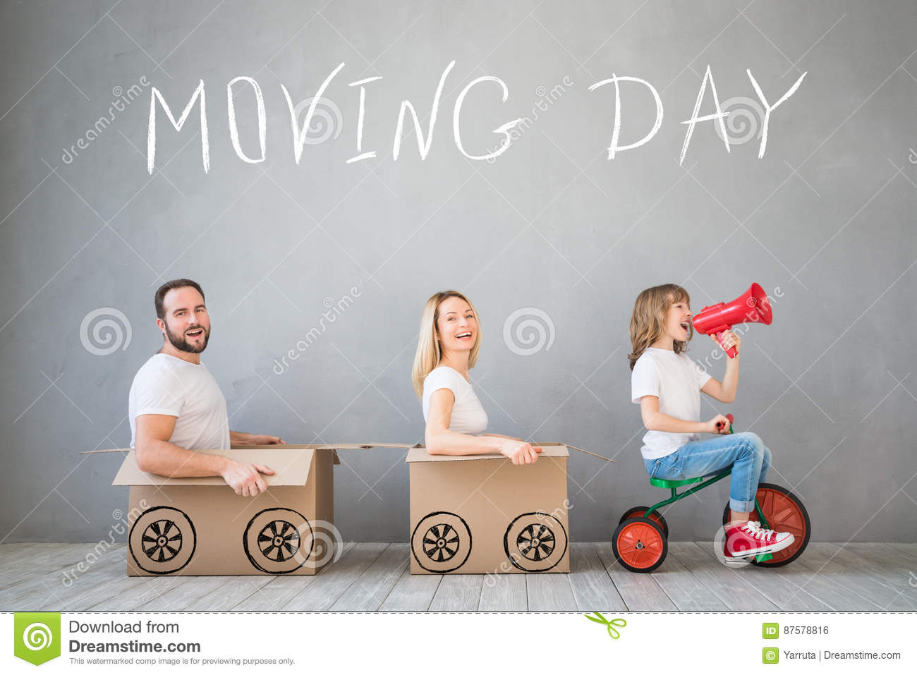 Download Family New Home Moving Day House Concept Stock Photo - Image of enjoy, carton: 87578816