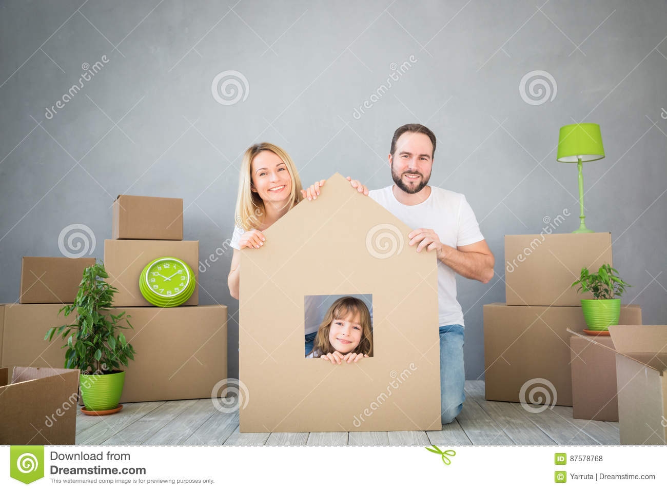 Download Family New Home Moving Day House Concept Stock Photo - Image of lifestyle, cardboard: 87578768