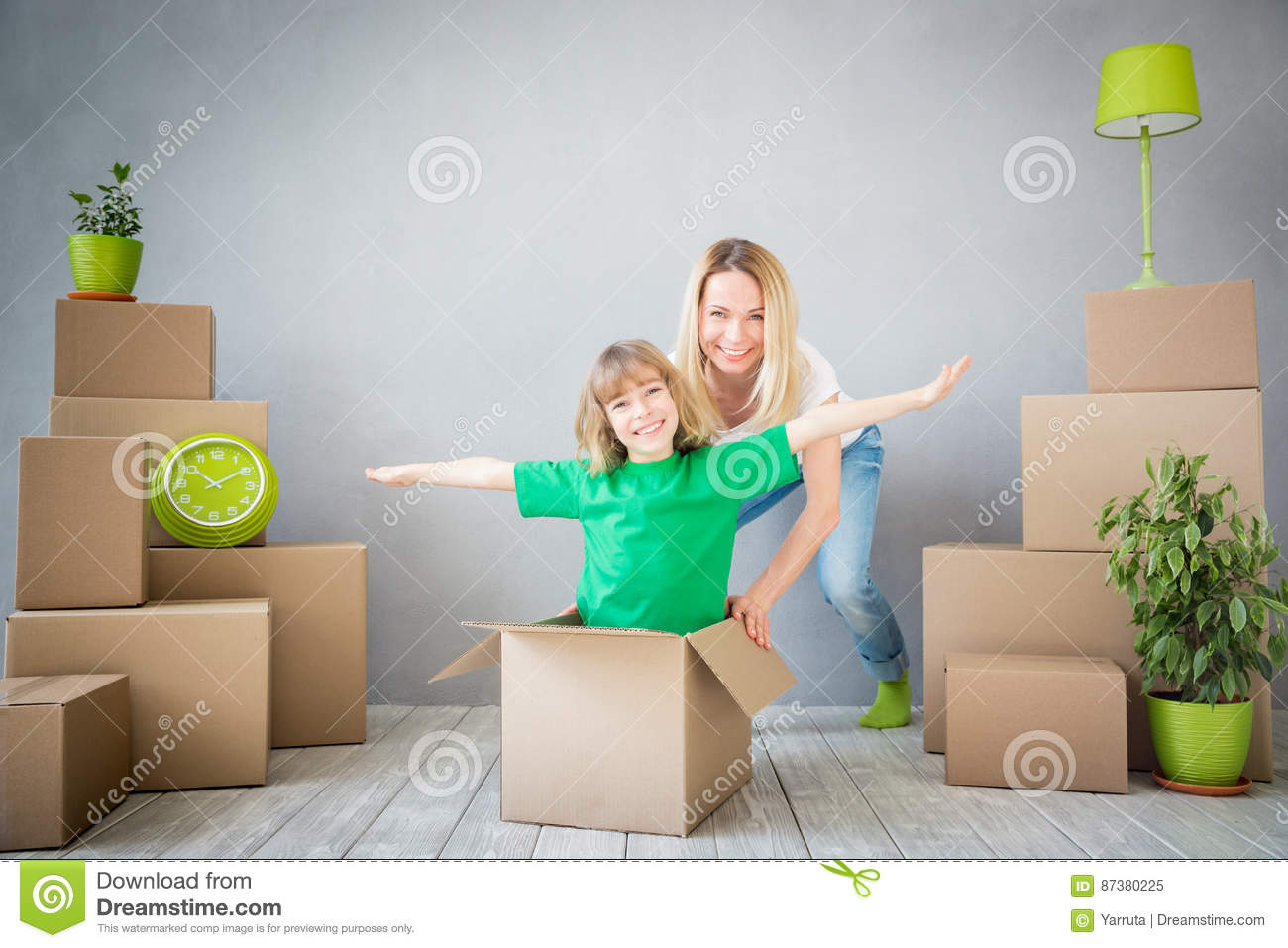 Download Family New Home Moving Day House Concept Stock Image - Image of cardboard, enjoy: 87380225