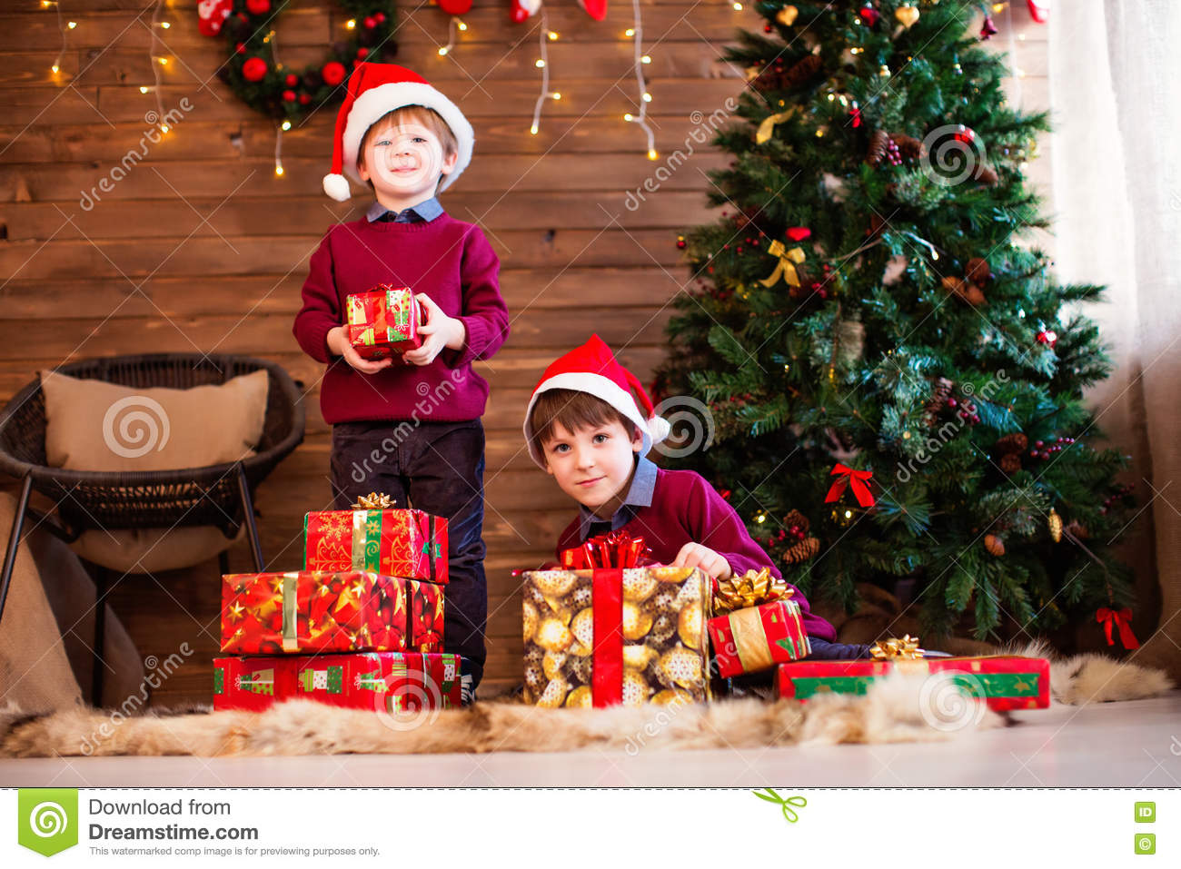 Family New Year And Christmas. Children And Christmas Gifts. Stock ...