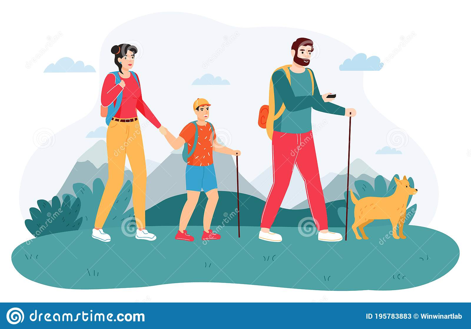 Family Outdoor Journey. Happy Hiking Family, Active Adventure Tourism,  Active Tourists, Travel Trekking Family With Kid Stock Vector -  Illustration of landscape, active: 195783883