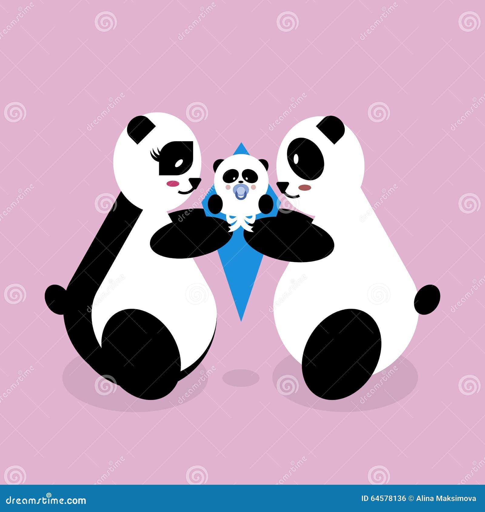 Newborn panda and mom - photo#37