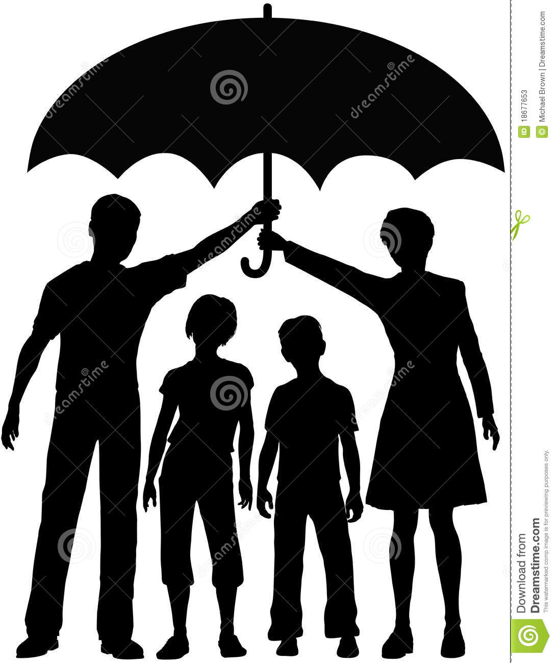 Download Family Parents Hold Security Risk Umbrella Stock Vector - Illustration of concept, over: 18677653