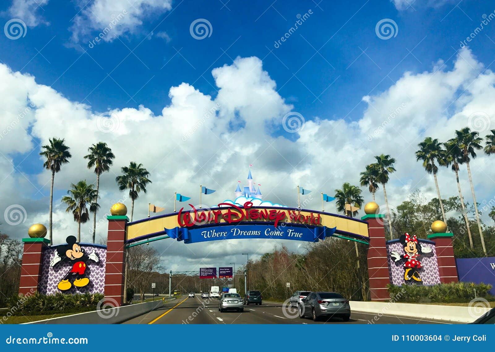 Entering Walt Disney World in Orlando, Florida.
