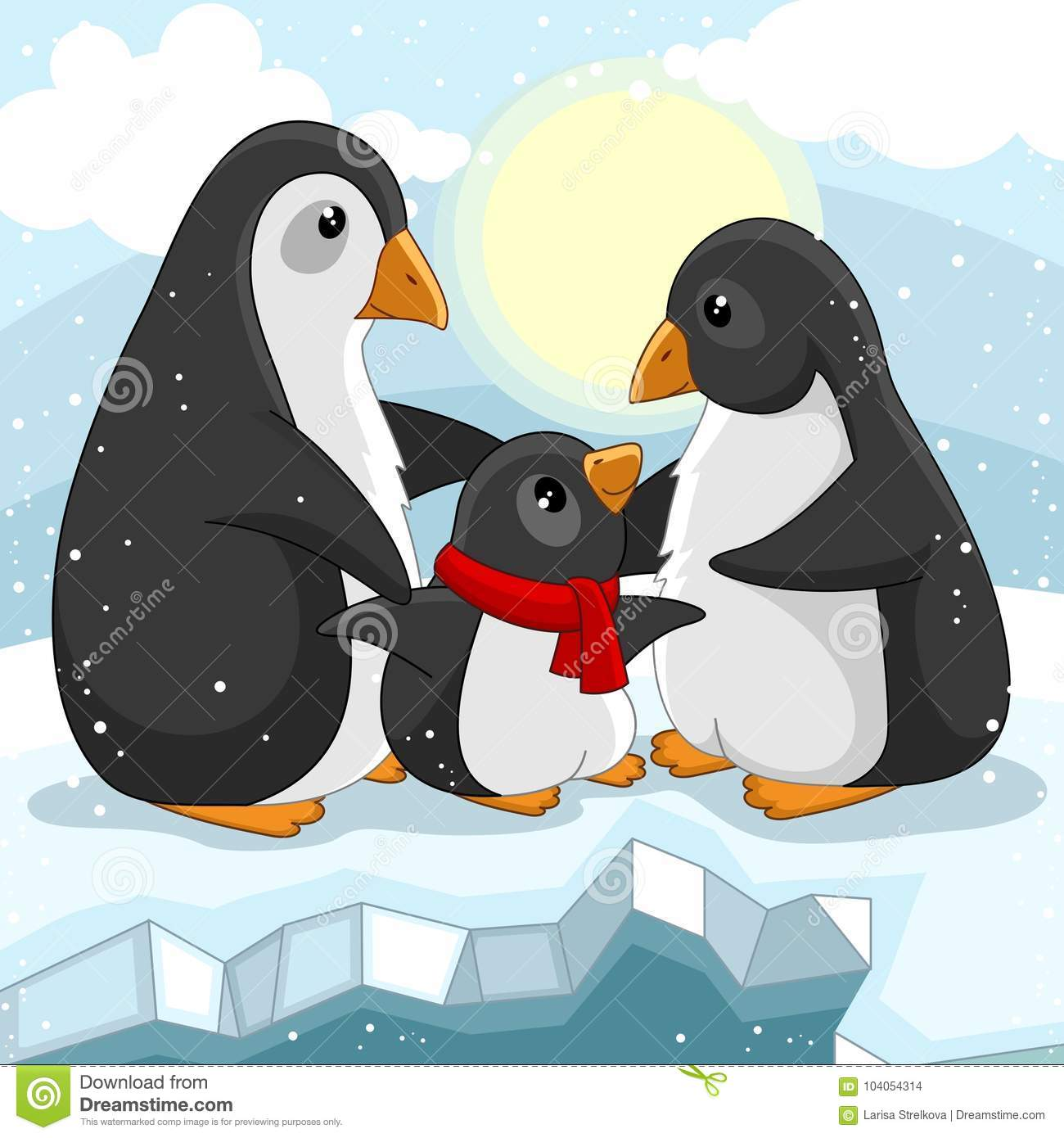Love Each Other Cartoon: Family Of Penguins Stock Vector. Illustration Of Pole