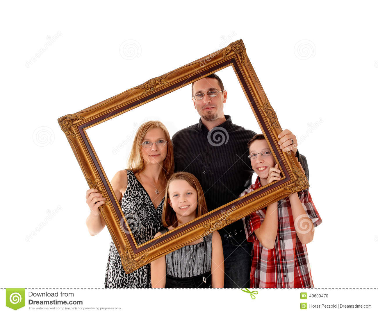 Family in picture frame.