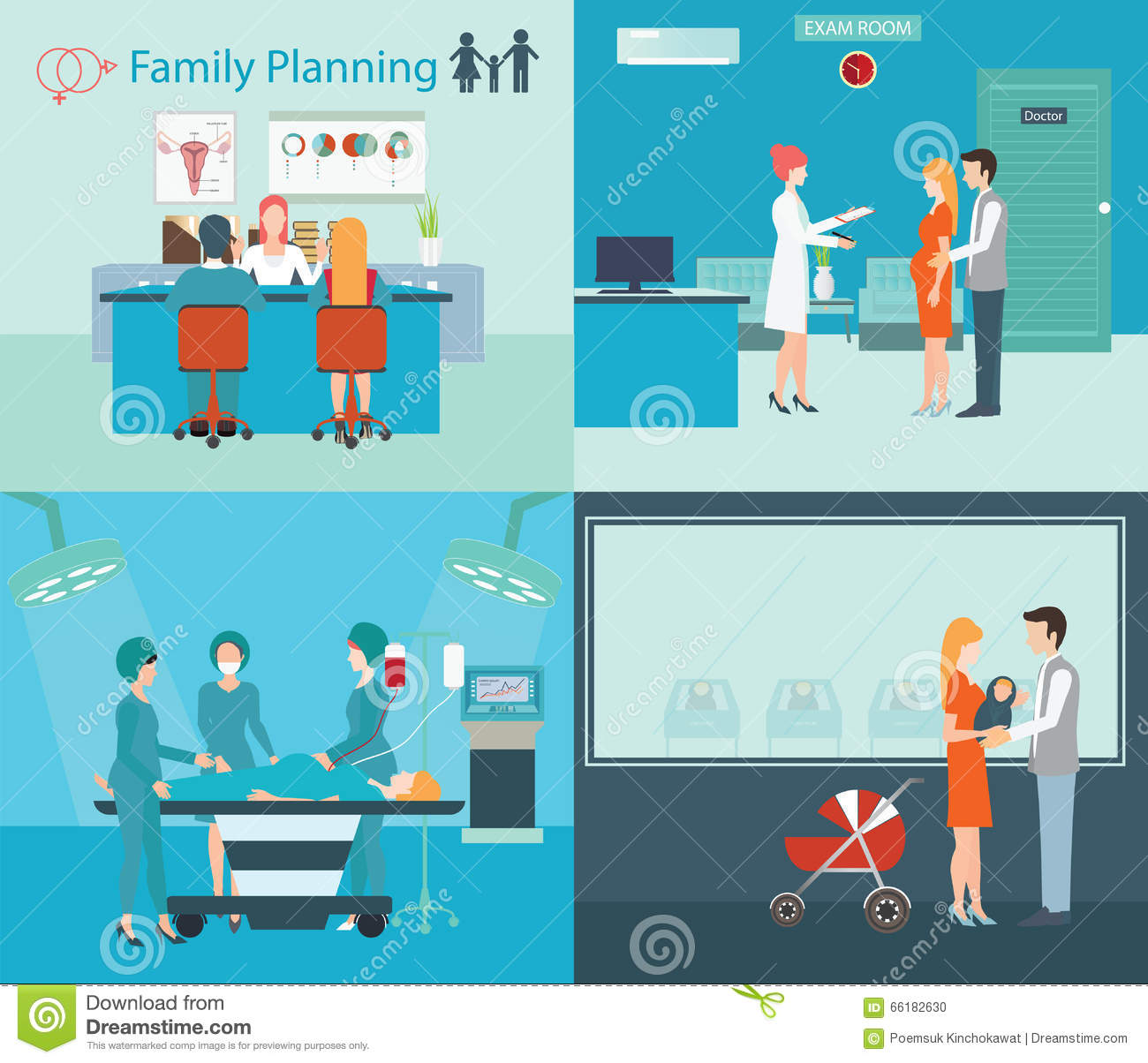 set of family planning and vacation infographic cartoon