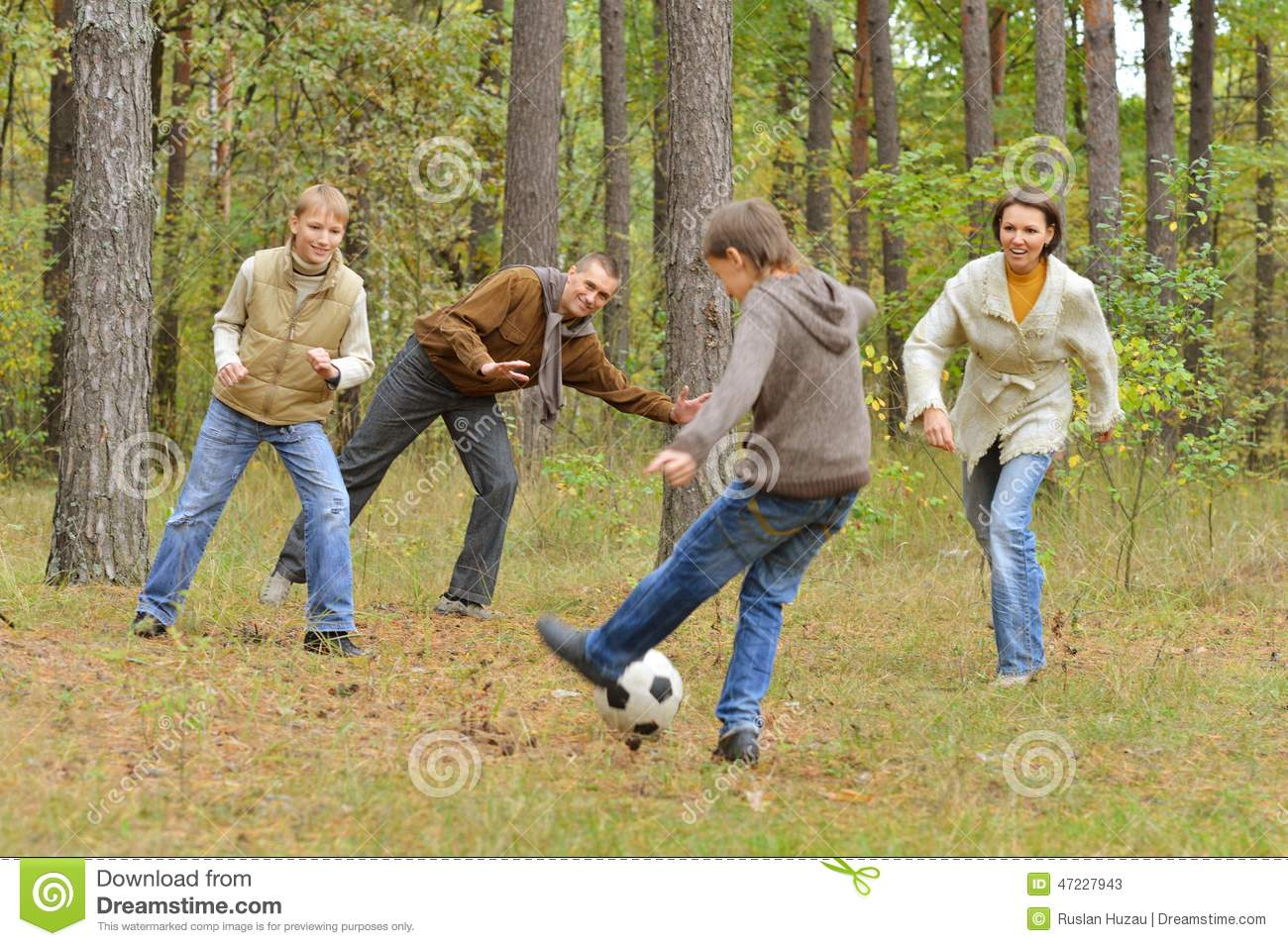 Family Play Football Forest Stock Image Image Of Adult Forest