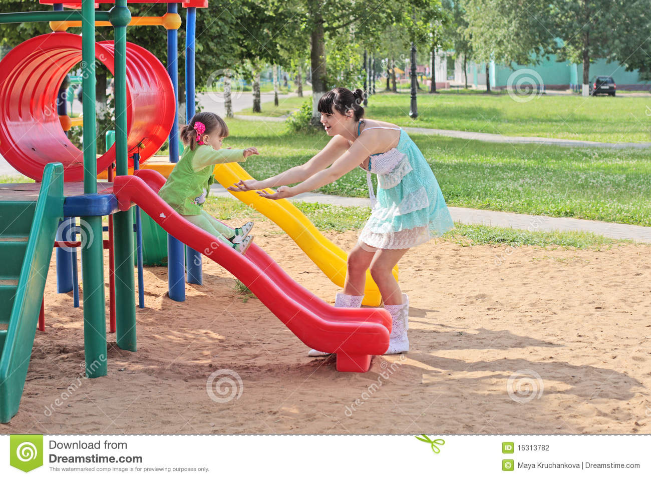 Family On Playground Stock Photography - Image: 16313782