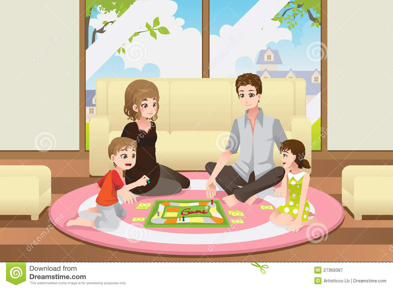 Family Playing Board Game Royalty Free Stock Photography ...