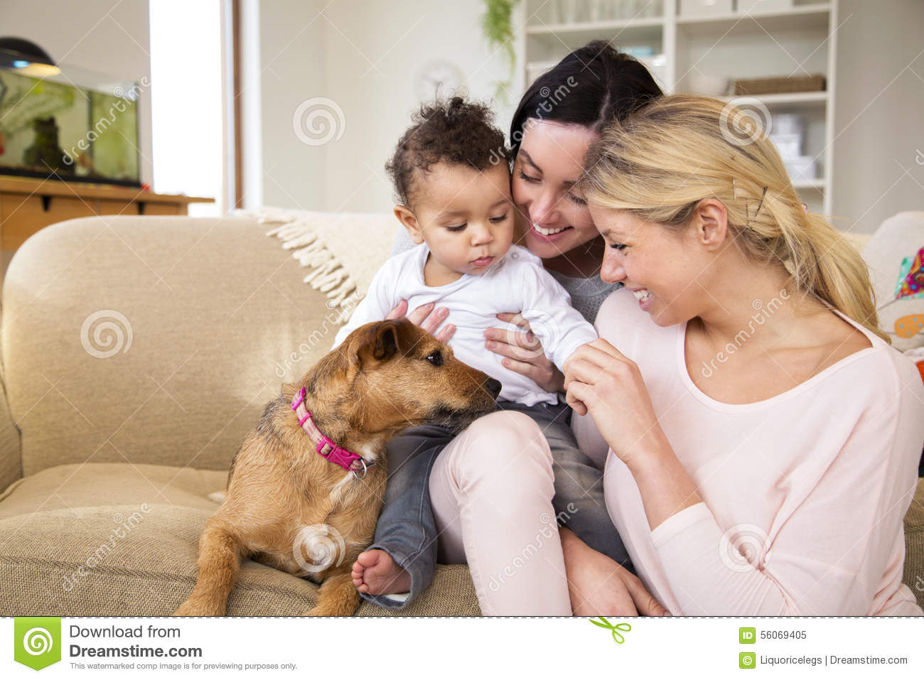 Family playing with dog at home