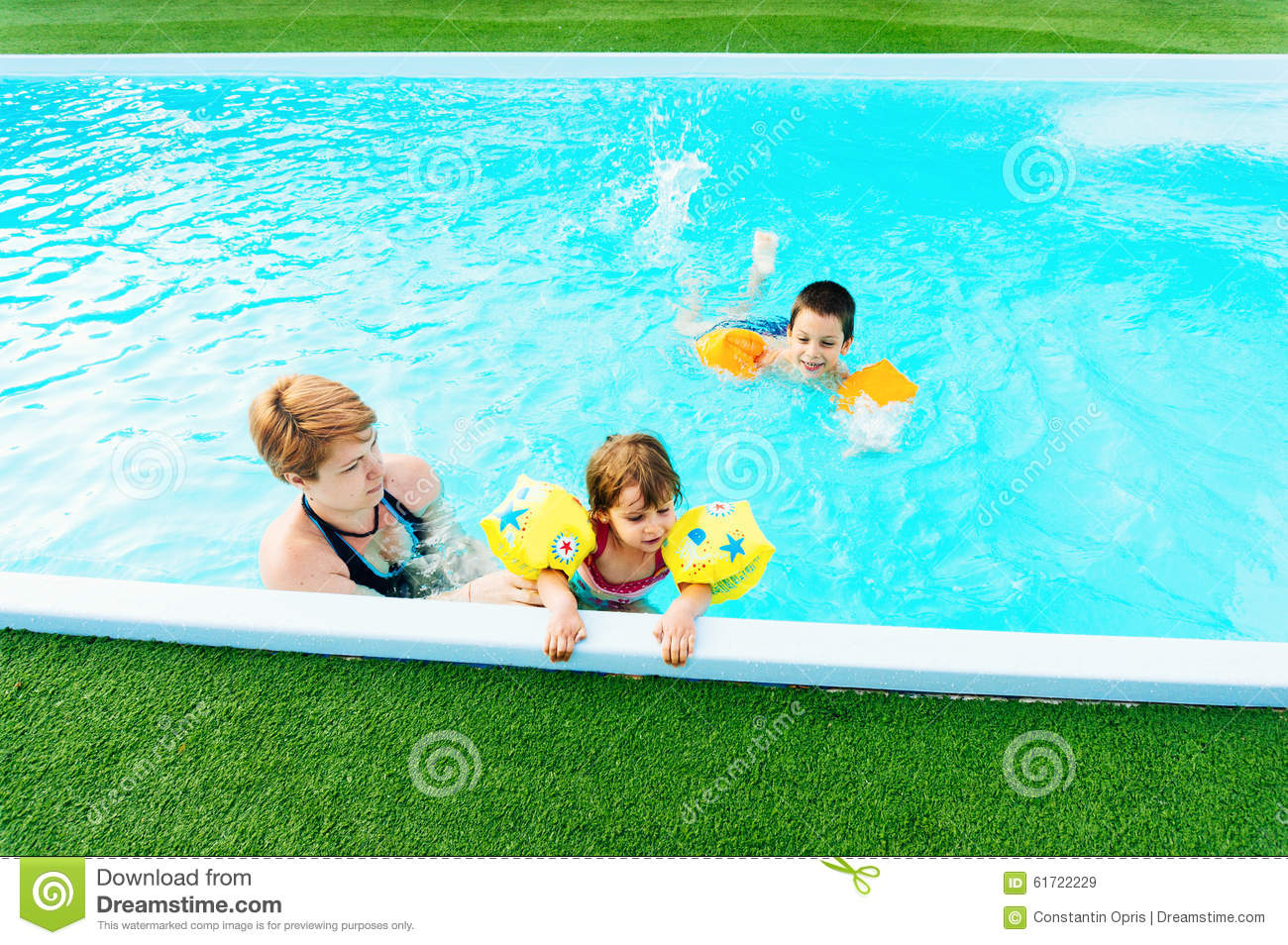 Family playing in swimming pool stock image image of for Family swimming pool