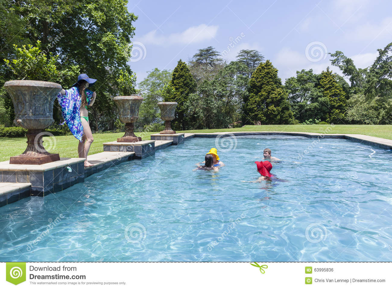 Family pool summer stock photo image 63995836 for Family swimming pool