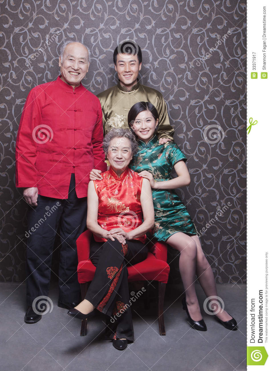 Family Portrait In Chinese Traditional Clothing Royalty ... Chinese Lantern Clipart