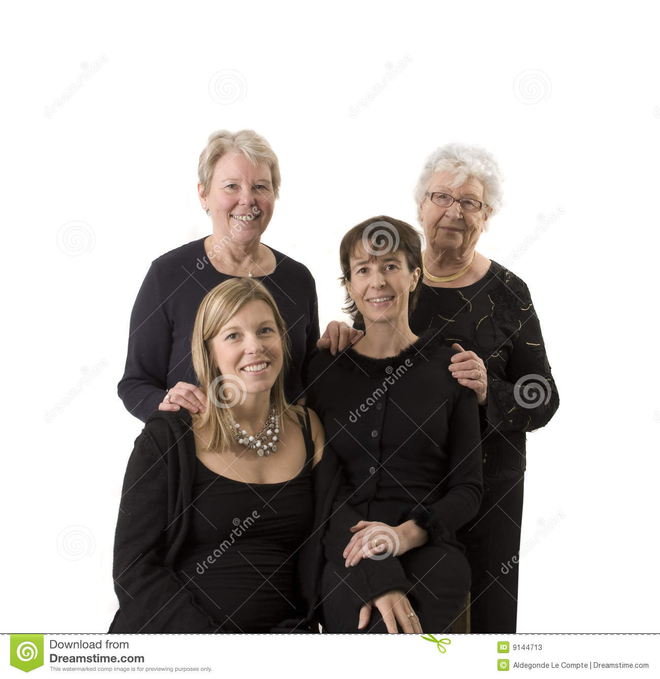 Family portrait compose of 4 women
