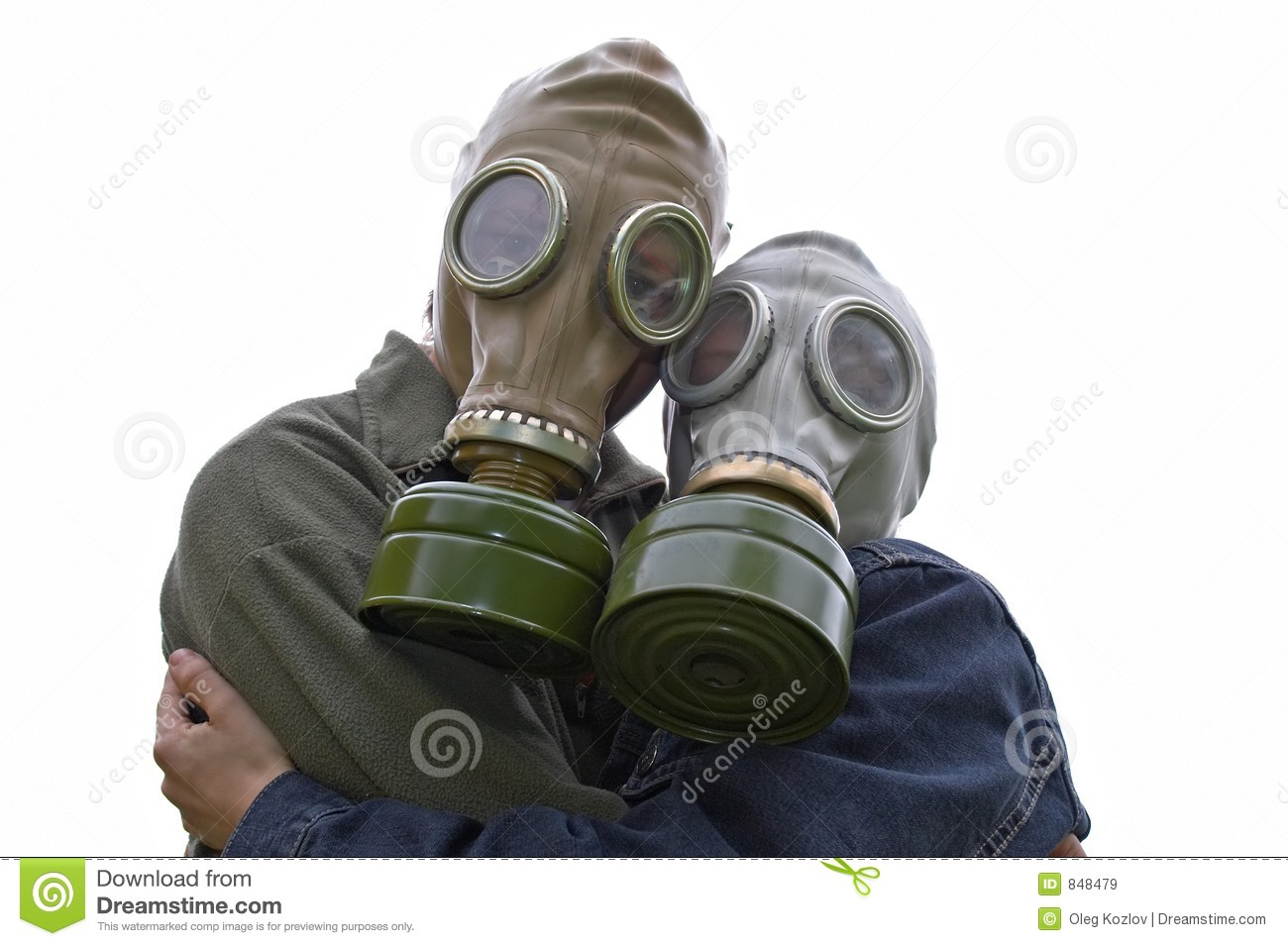 Family portrait in gas-masks