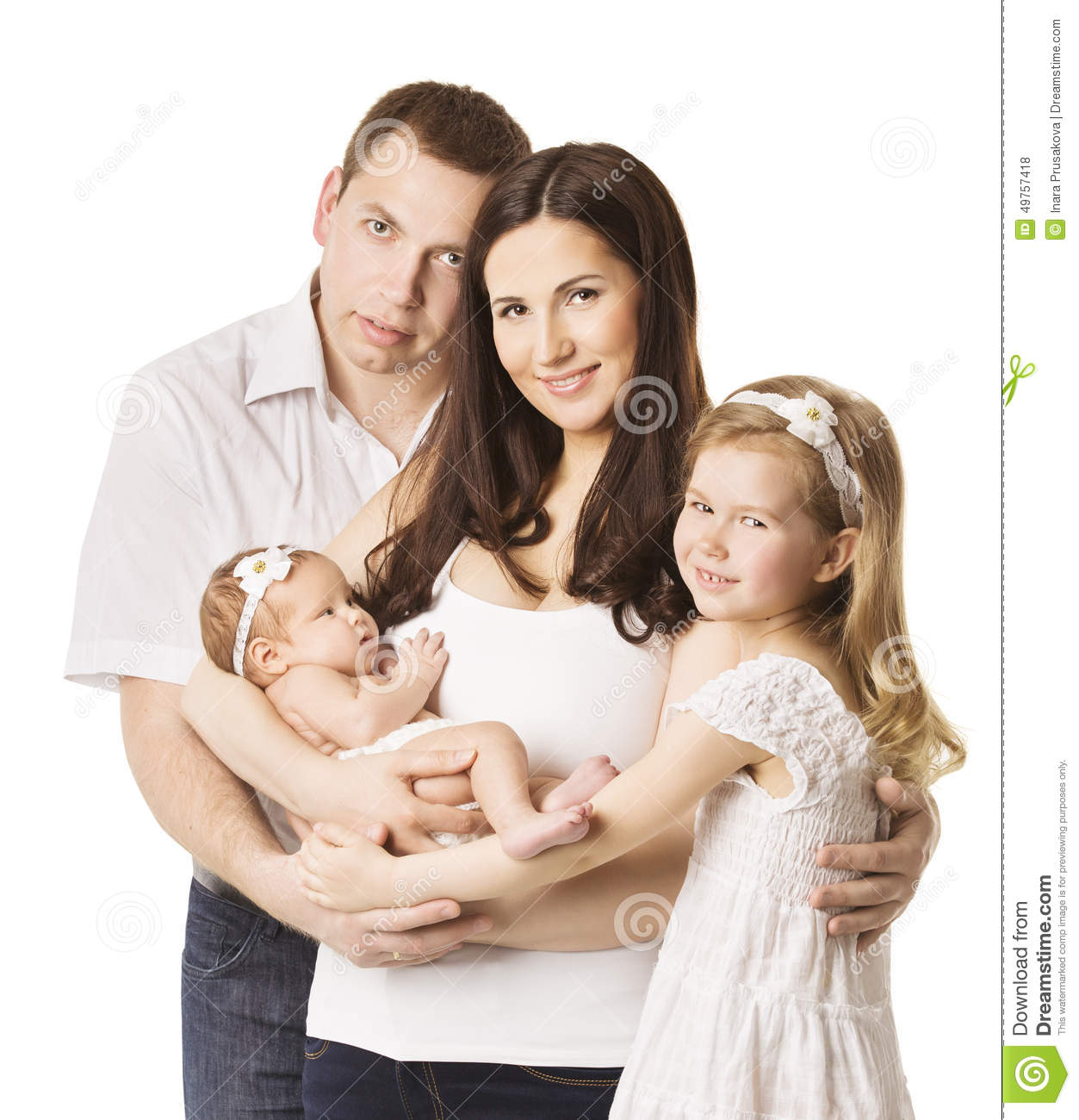 Young Happy Beautiful Family Playing Together On The Beach: Family Portrait With Kids, Young Mother Father Daughter