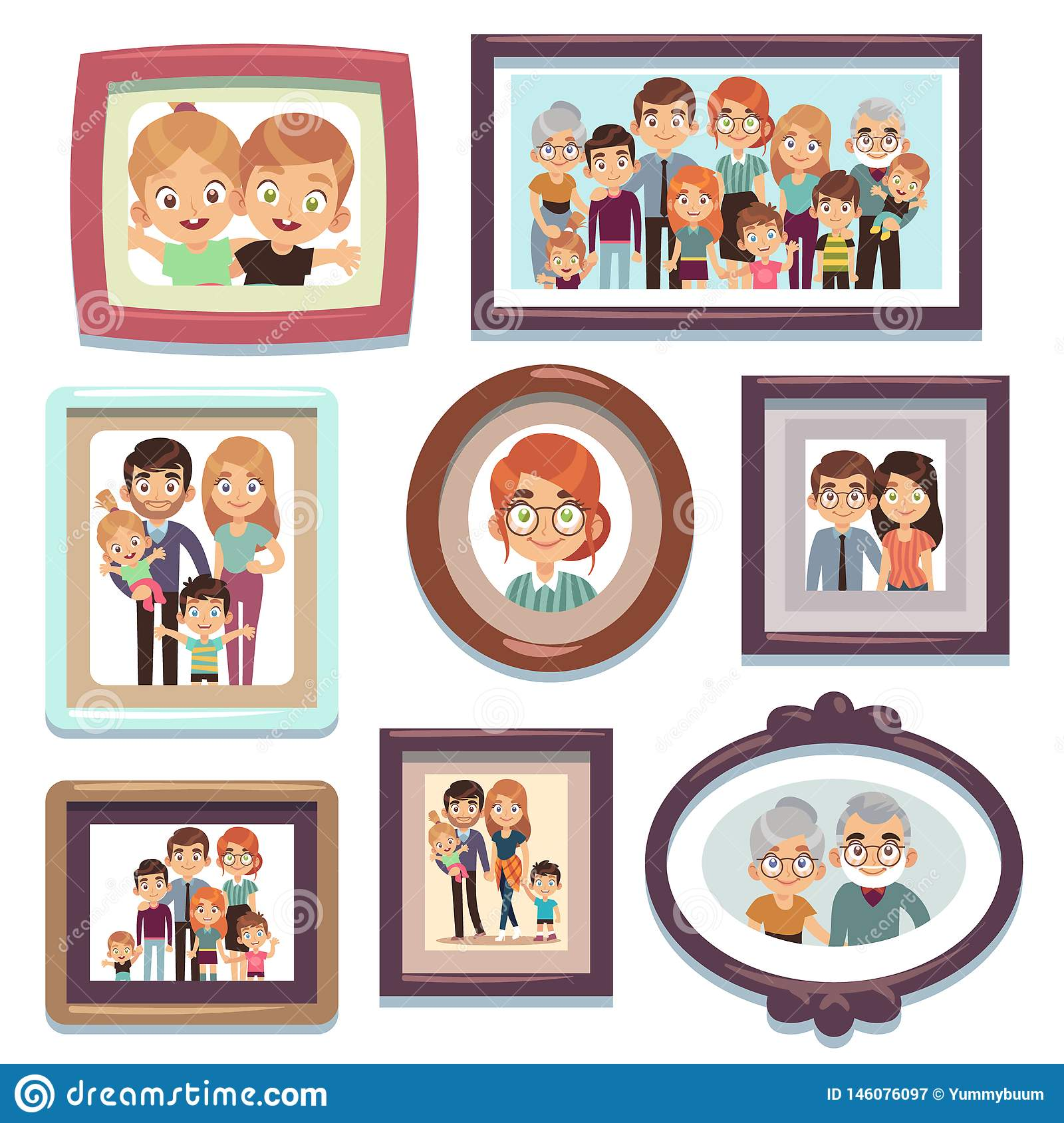 Family portrait photos. Pictures people photo frame happy characters relatives dynasty parents kids relationship, flat