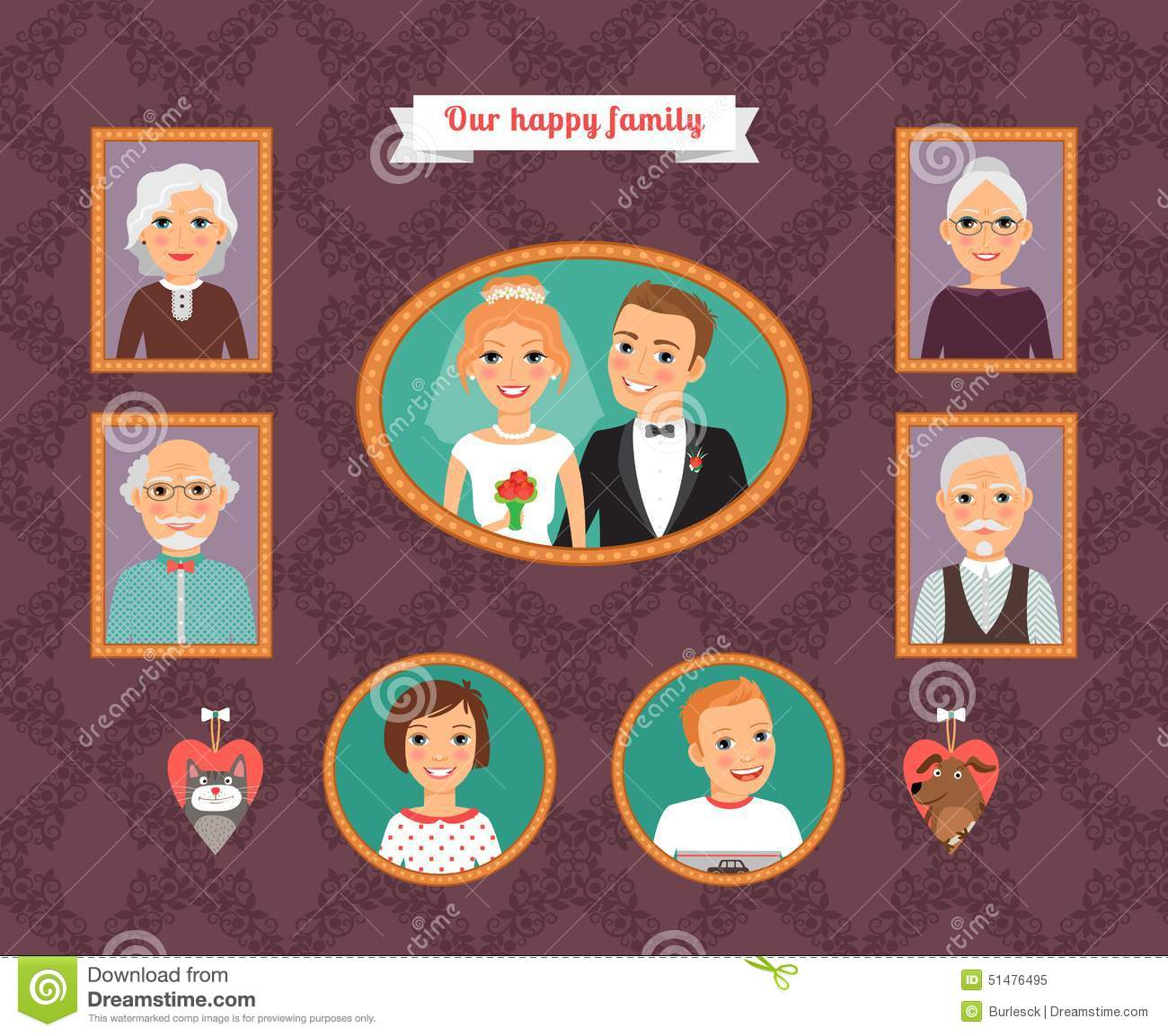 Family Portrait Wall With Family Photo Frames Stock Vector
