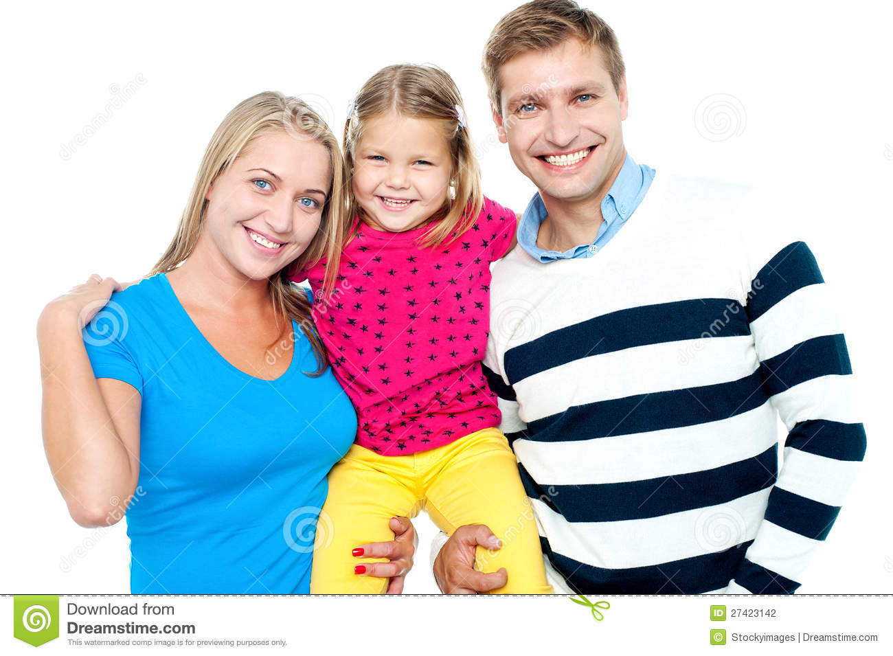 Family portrait on a white background