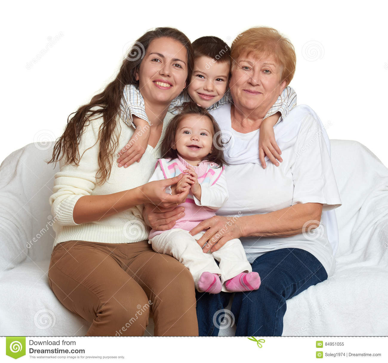 Family portrait on white background happy people sit on sofa children with mother and