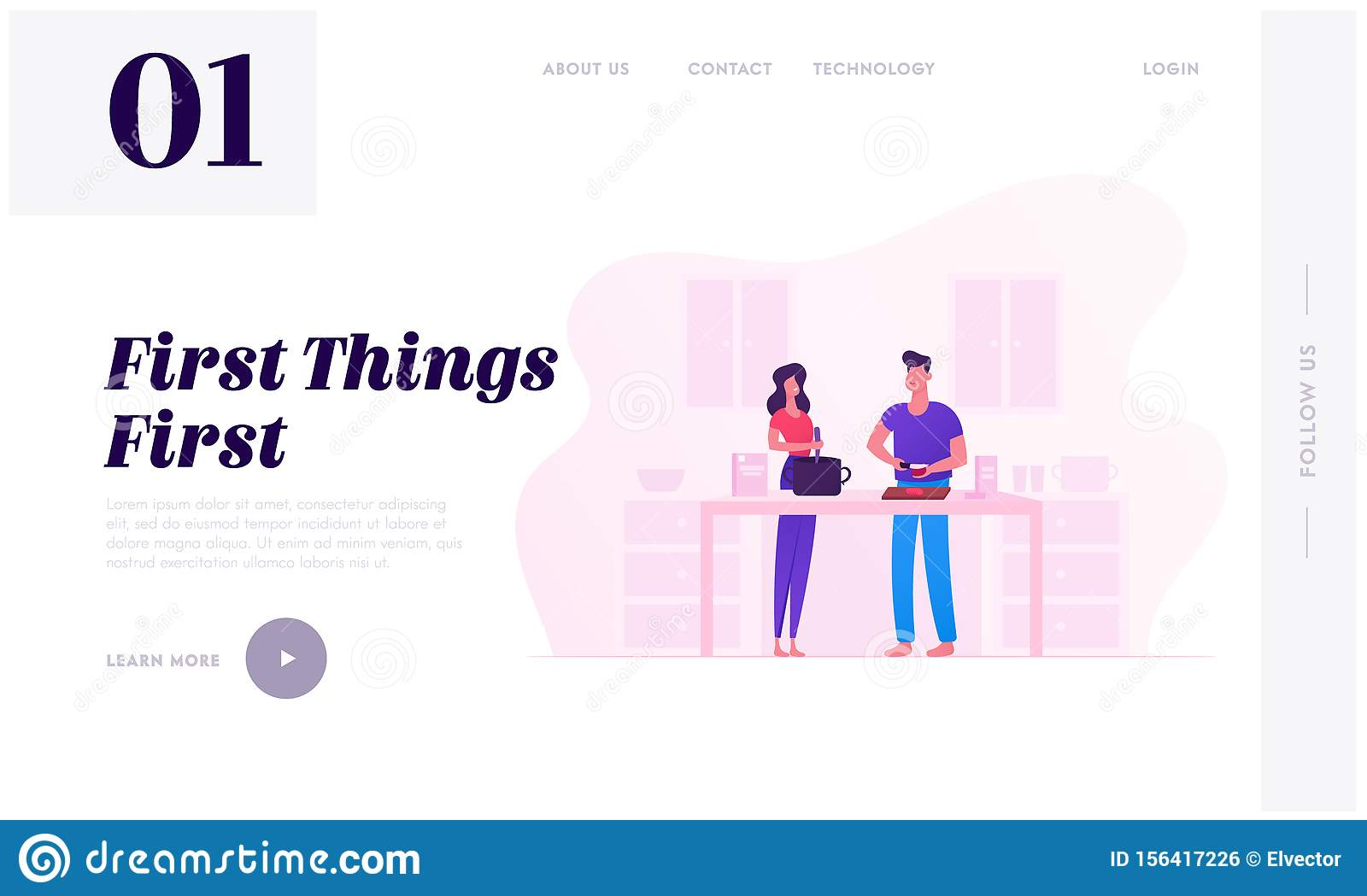 Family Prepare Food Website Landing Page. Young Loving Couple Cooking Together on Kitchen Every Day Routine, Love and Relations