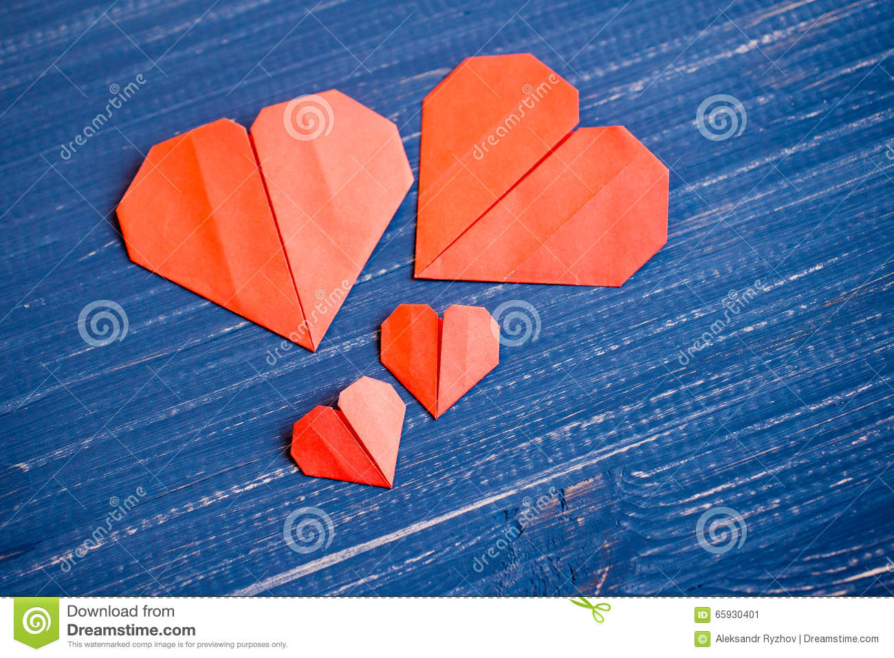 Family Prepared For Valentines Day Origami Of Heart Concept