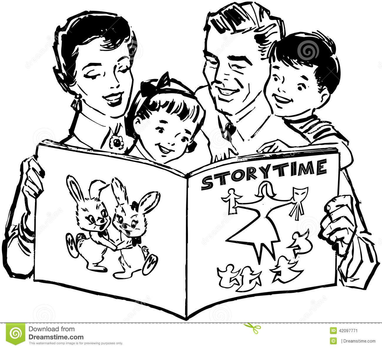 Family Reading Book Stock Vector Image Of Children Pages